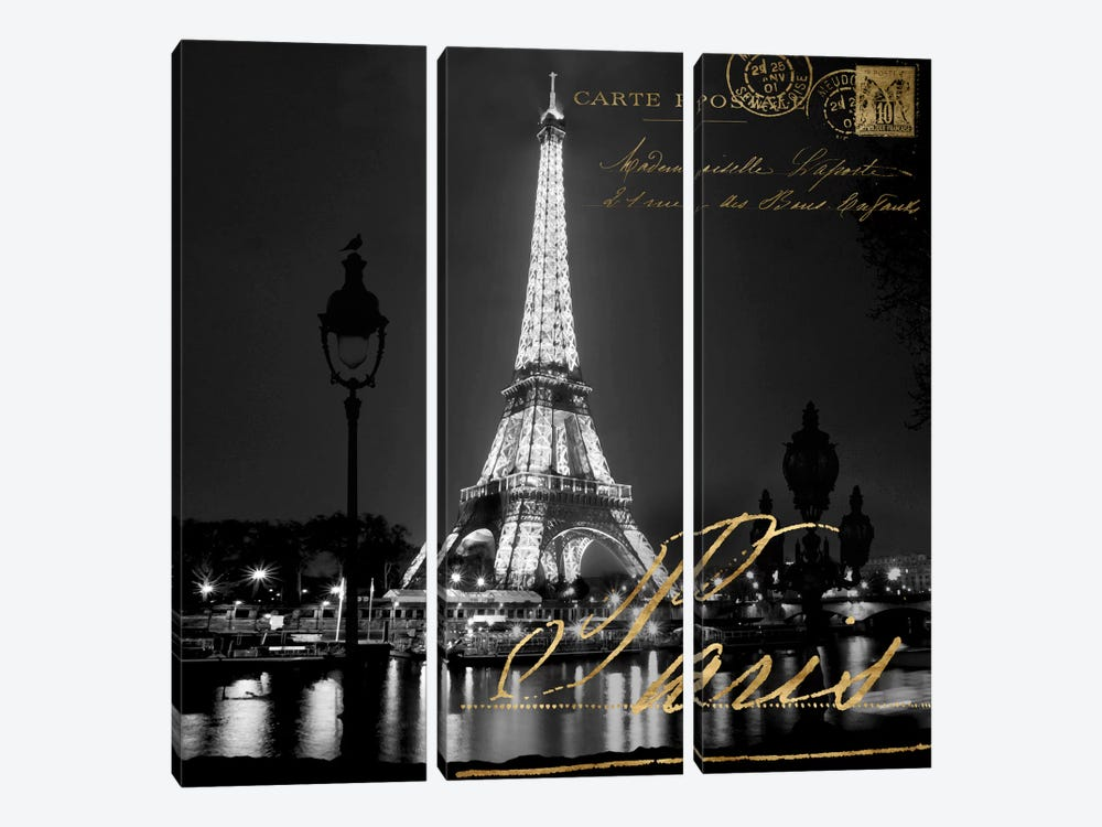 Paris At Night by Kate Carrigan 3-piece Canvas Print