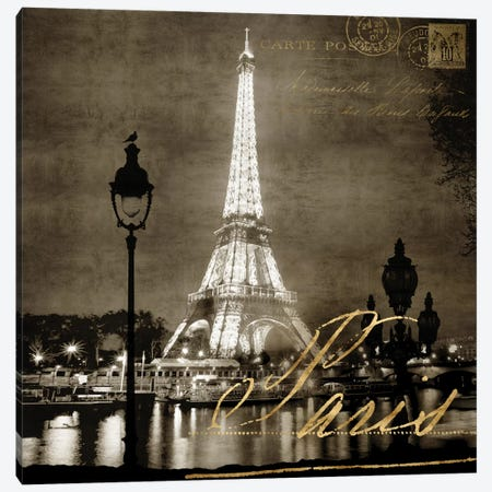 Paris At Night In Sepia Canvas Print #KAC42} by Kate Carrigan Canvas Wall Art