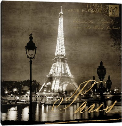 Paris At Night In Sepia Canvas Art Print