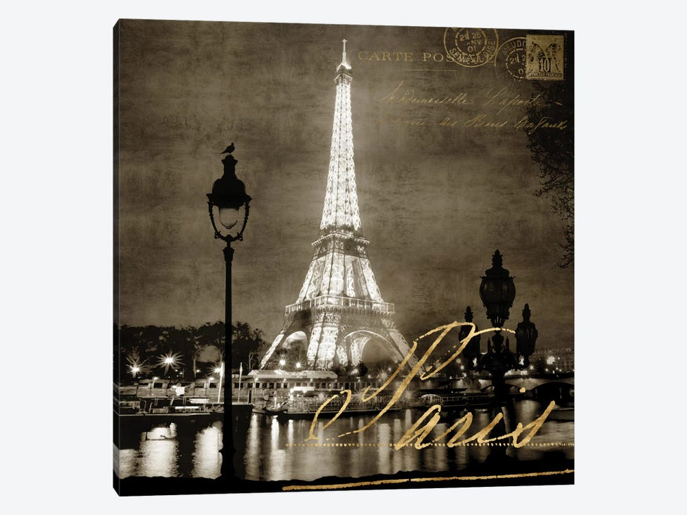 Paris At Night In Sepia by Kate Carrigan 1-piece Canvas Artwork