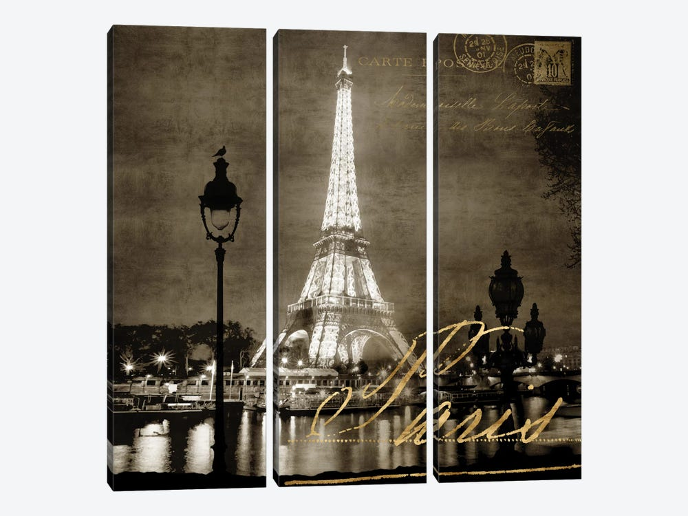 Paris At Night In Sepia by Kate Carrigan 3-piece Canvas Artwork