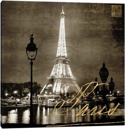 Paris At Night In Sepia Canvas Art Print