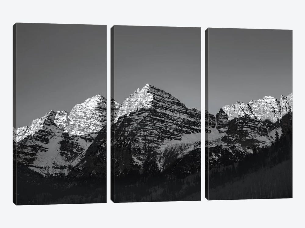 Maroon Peak II In B&W by Sarah Kadlecek 3-piece Canvas Wall Art