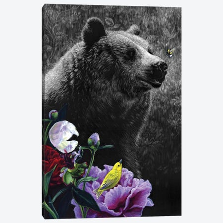 Garden Bear Canvas Print #KAE10} by Kaetlyn Able Canvas Art Print