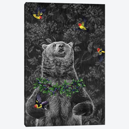 Grizzly With Tanagers Canvas Print #KAE11} by Kaetlyn Able Art Print