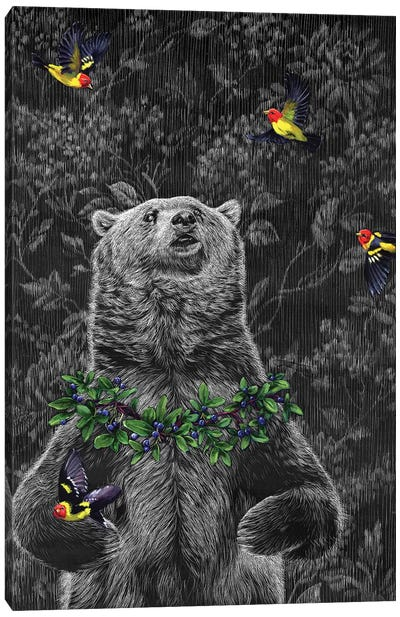 Grizzly With Tanagers Canvas Art Print