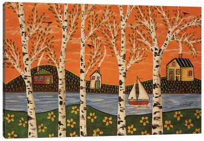 Lake Birches and Orange Sky Canvas Art Print