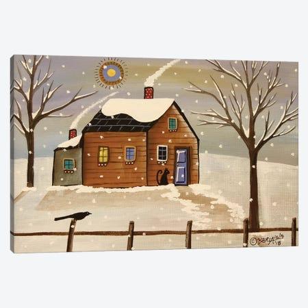 Snowy Cabin Canvas Print #KAG300} by Karla Gerard Canvas Wall Art