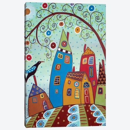 Swirl Tree Bird & Houses Canvas Print #KAG334} by Karla Gerard Canvas Art