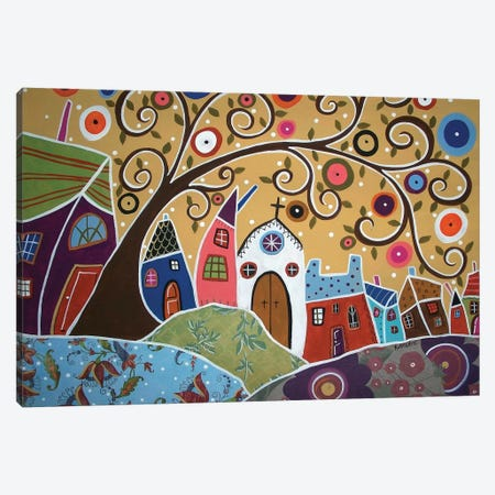 Swirl Tree Town Canvas Print #KAG337} by Karla Gerard Canvas Artwork