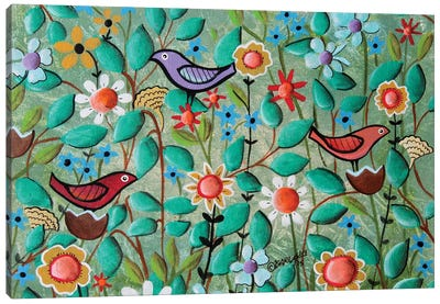Birds and Blooms Canvas Art Print