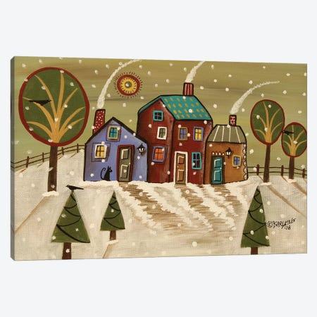 Three Winter Cabins Canvas Print #KAG345} by Karla Gerard Canvas Art Print