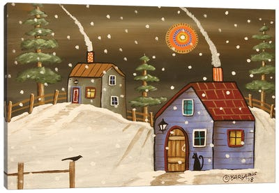 Two Winter Cabins Canvas Art Print