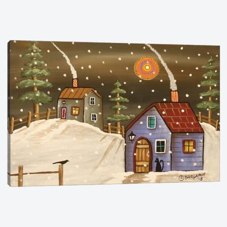 Two Winter Cabins Canvas Print #KAG357} by Karla Gerard Canvas Artwork