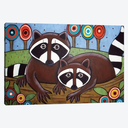 2 Raccoons Canvas Print #KAG3} by Karla Gerard Canvas Wall Art