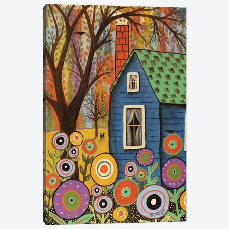 Blue Cottage Canvas Print #KAG43} by Karla Gerard Canvas Art