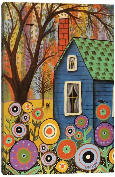Blue Cottage Canvas Art Print