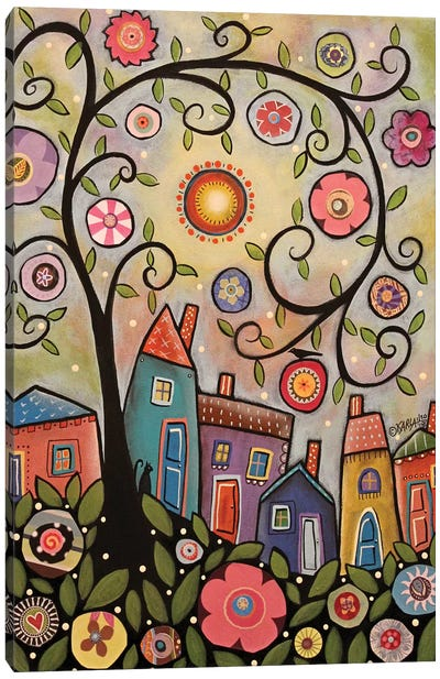 Collage Tree Village Canvas Art Print