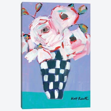Bouquet on Cornflower and Jade    Canvas Print #KAI125} by Kait Roberts Canvas Art