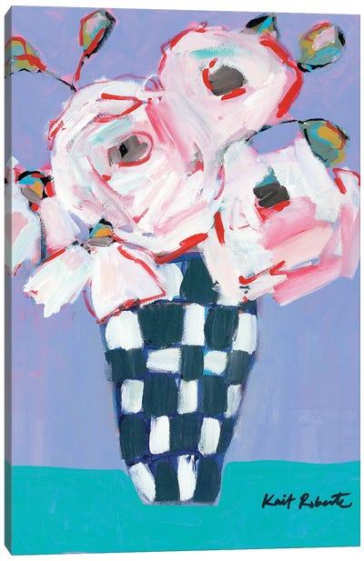 Bouquet on Cornflower and Jade    Canvas Art Print
