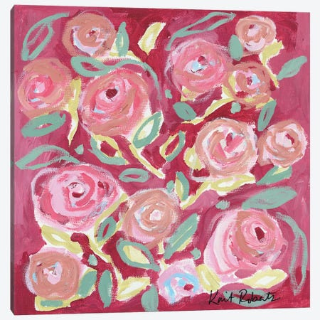 Blooming in Rose 3-Piece Canvas #KAI153} by Kait Roberts Canvas Wall Art
