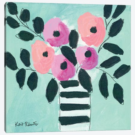 Blooms & Stripes Canvas Print #KAI154} by Kait Roberts Canvas Art Print