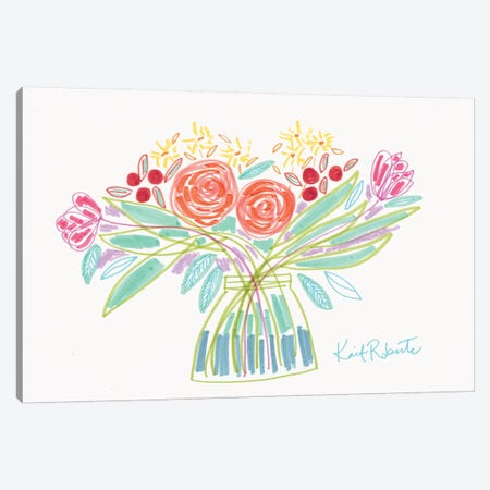 February Bouquet Canvas Print #KAI158} by Kait Roberts Canvas Art
