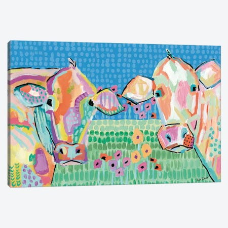 Moo Series:  Lucy & Peggy Canvas Print #KAI168} by Kait Roberts Art Print