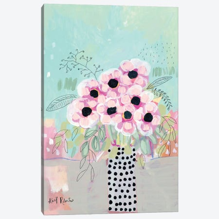 Dots & Flowers Canvas Print #KAI228} by Kait Roberts Canvas Wall Art