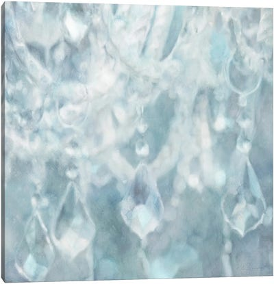 French Blue Chandelier Canvas Art Print