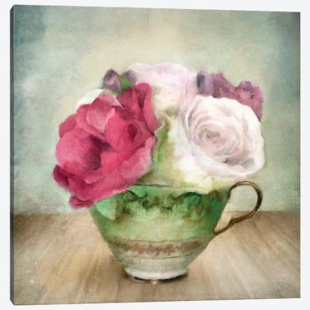 Roses In Green China Tea Cup Canvas Print #KAJ102} by Katrina Jones Canvas Print