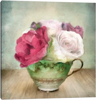Roses In Green China Tea Cup Canvas Art Print