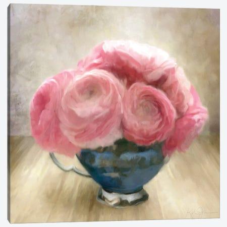 Jubilee Celebration Roses In Blue China Cup Canvas Print #KAJ104} by Katrina Jones Canvas Art