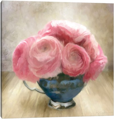 Jubilee Celebration Roses In Blue China Cup Canvas Art Print