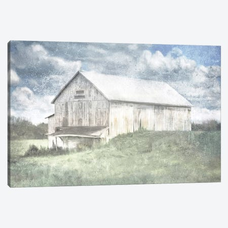 Old White Barn And Blue Sky Canvas Print #KAJ107} by Katrina Jones Canvas Art