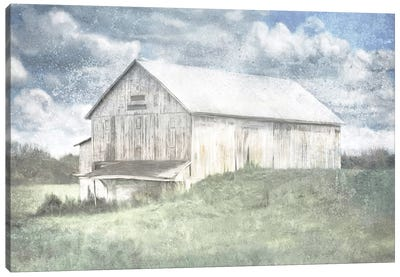 Old White Barn And Blue Sky Canvas Art Print