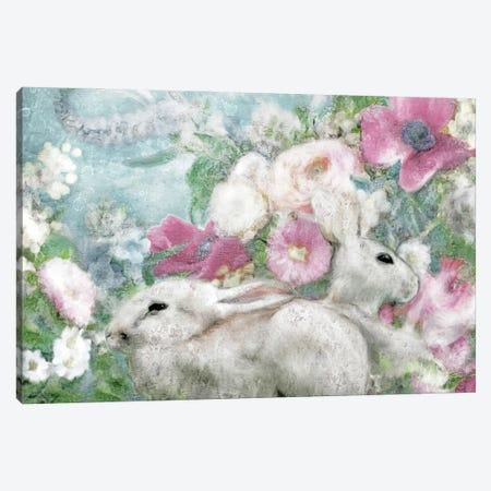 Spring Garden Bunnies Canvas Print #KAJ124} by Katrina Jones Canvas Art
