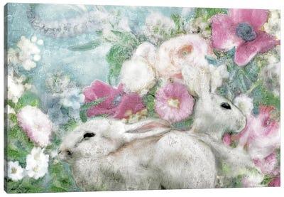 Spring Garden Bunnies Canvas Art Print