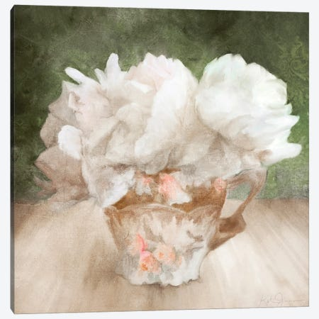 White Ruffle Flowers In A China Teacup Canvas Print #KAJ138} by Katrina Jones Canvas Artwork