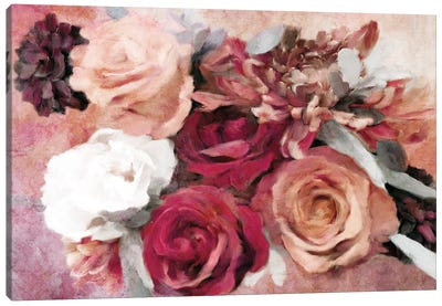 Crimson And Coral Floral Canvas Art Print