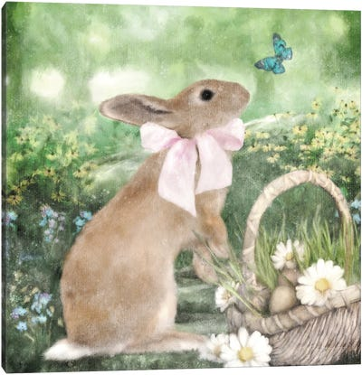 Spring Bunny And Basket Canvas Art Print