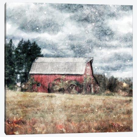 First Snow On The Farm Canvas Print #KAJ99} by Katrina Jones Canvas Wall Art