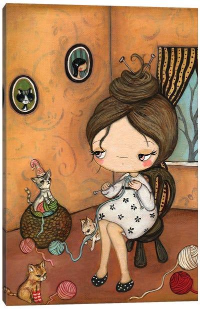 Knitty Kitty Canvas Art Print