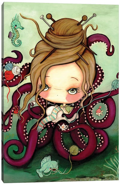 Knitting Octopus Canvas Art Print