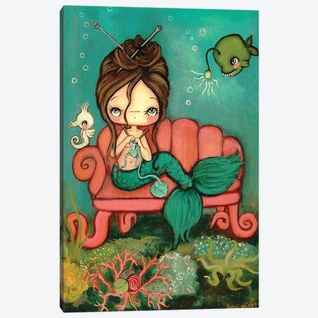 Knitting Mermaid Canvas Print #KAK28} by Kelly Ann Kost Canvas Wall Art