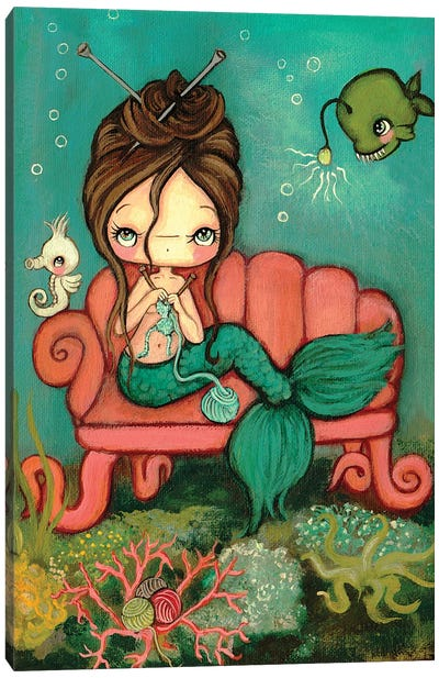 Knitting Mermaid Canvas Art Print