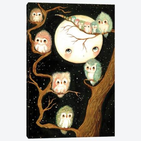 Owls In A Tree Canvas Print #KAK39} by Kelly Ann Kost Canvas Print