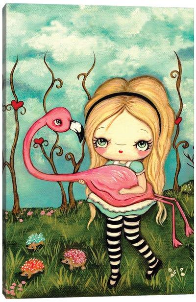 Alice And Flamingo Canvas Art Print