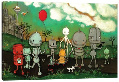 Robot's In The City Canvas Art Print