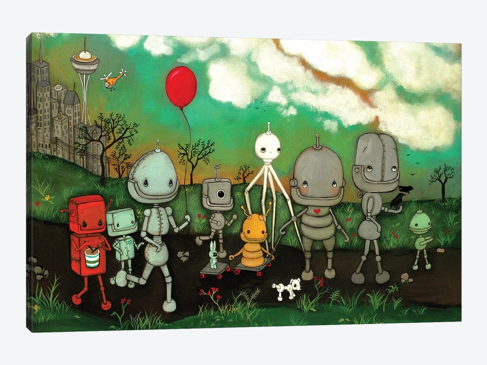Robot's In The City by Kelly Ann Kost 1-piece Canvas Artwork
